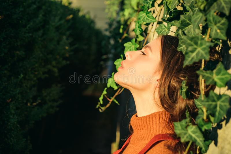 Enjoy warmth. Woman enjoy sunny day outdoors. Autumn season concept. Pretty woman sun tanning nature background. Fashion royalty free stock photography