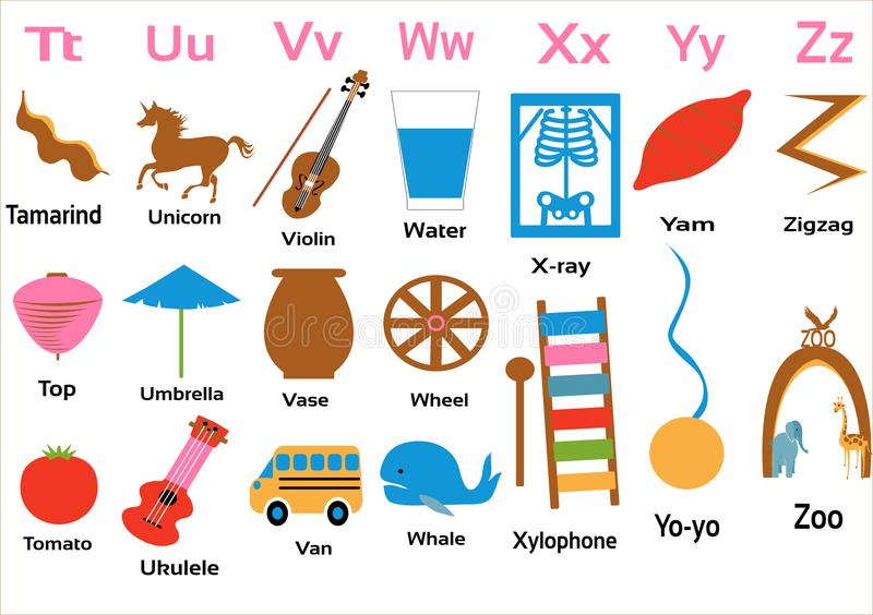 Kindergarten-alphabets-tuvwxyz for small children. Alphabets taught to Kindergarten children with vegetables, fruits, animals and objects royalty free illustration