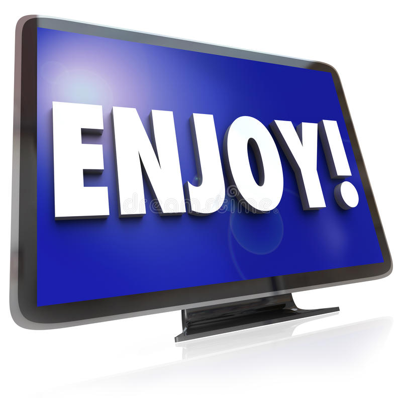 Enjoy Word HDTV Television Program Entertainment. The word Enjoy on a HDTV screen to illustrate television program or show viewing in a home theatre such as royalty free illustration