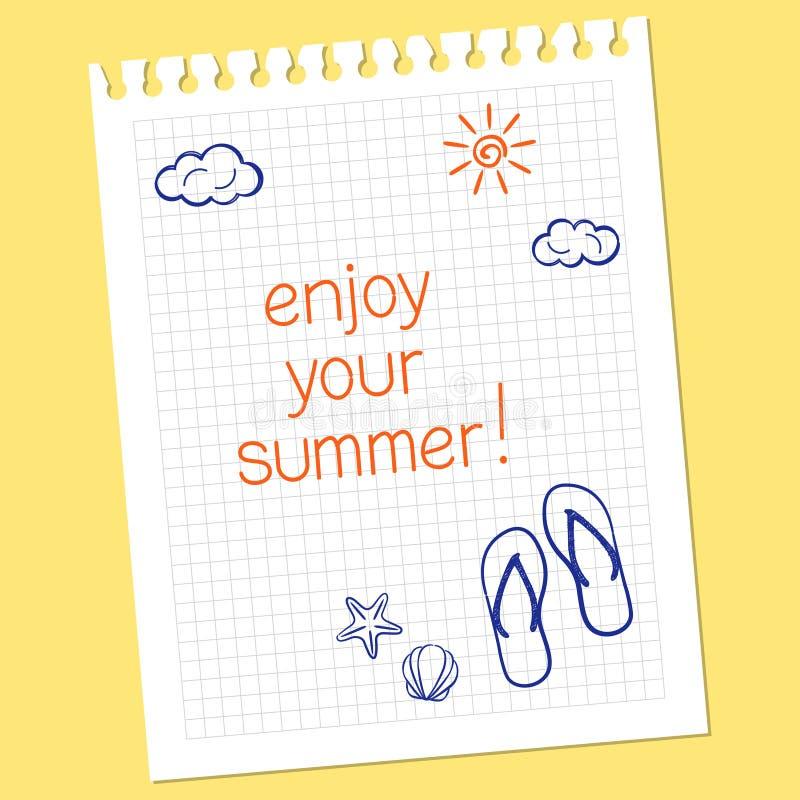 enjoy your summer stock vector illustration of drawn 40720632