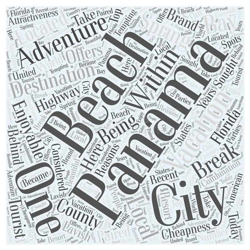 An enjoyable adventure vacation in panama city word cloud concept background royalty free illustration