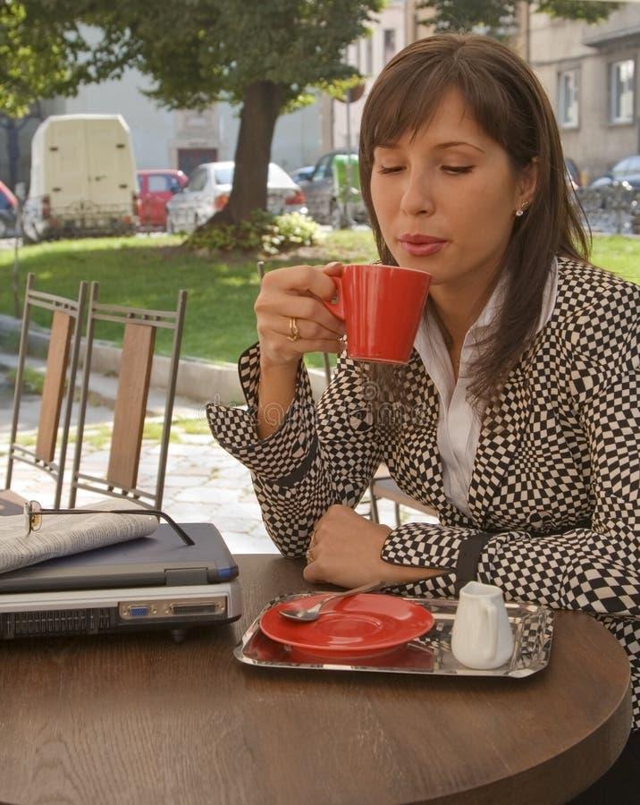 Enjoying coffee stock image