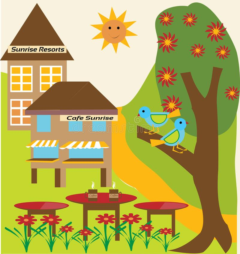 Sunrise at Sunrise Holiday Resort on a Hill Station. Enjoying a coffee with a Sunrise in Sunrise Cafe on a Hill Station vector illustration