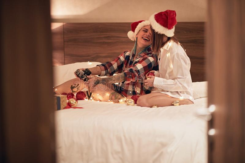 Enjoying in day with my love.Christmas romance royalty free stock photography