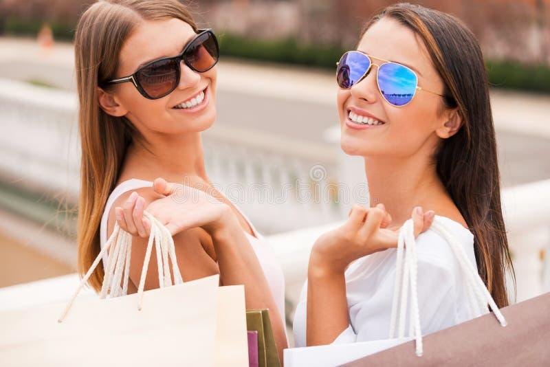 Enjoying the day shopping. royalty free stock photography
