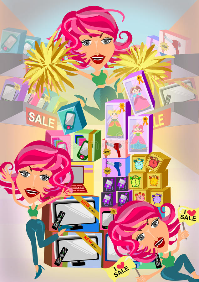 Happy shopping woman. Woman shoppings on multiply scene illustration