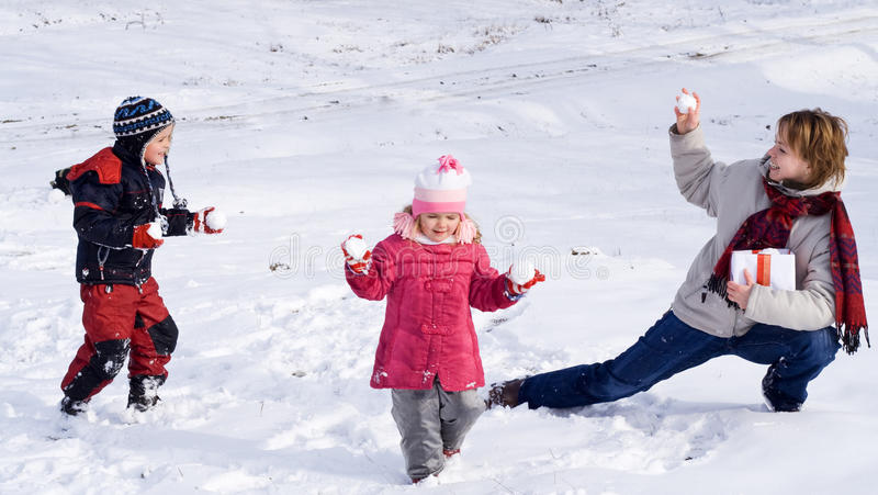 Enjoying first or last snow stock photography