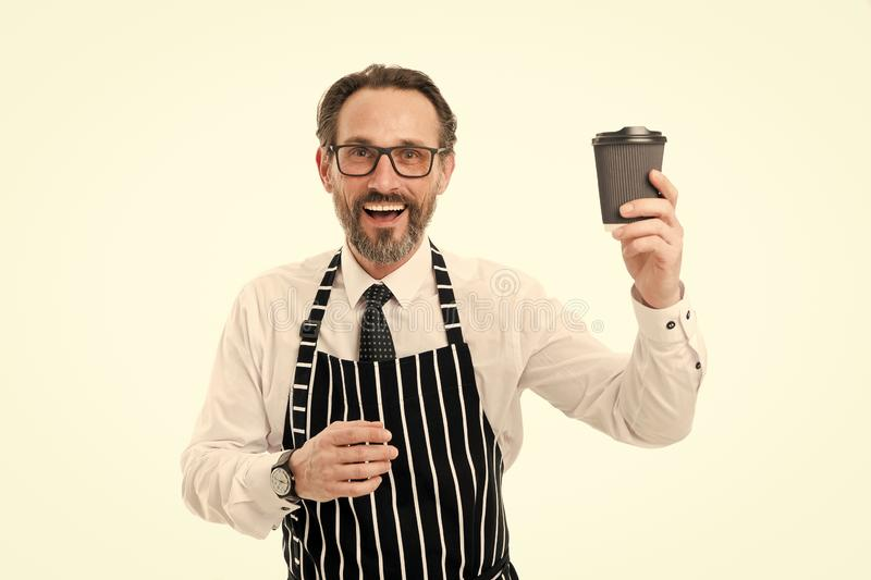 Enjoying fresh coffee. Inspired with cup of fresh coffee. Business on the go. Happy bearded man hold paper coffee cup royalty free stock photography