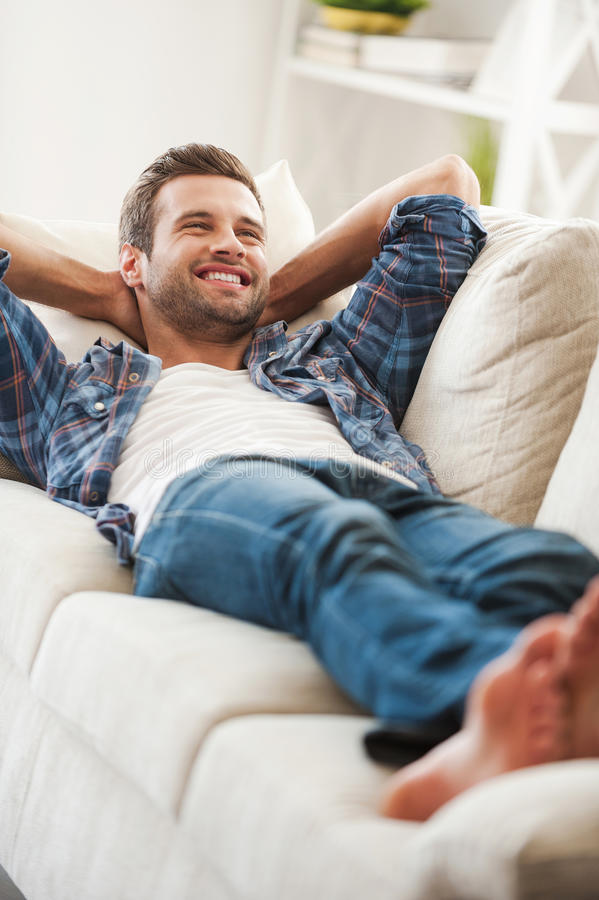 Enjoying lazy day at home. stock photography