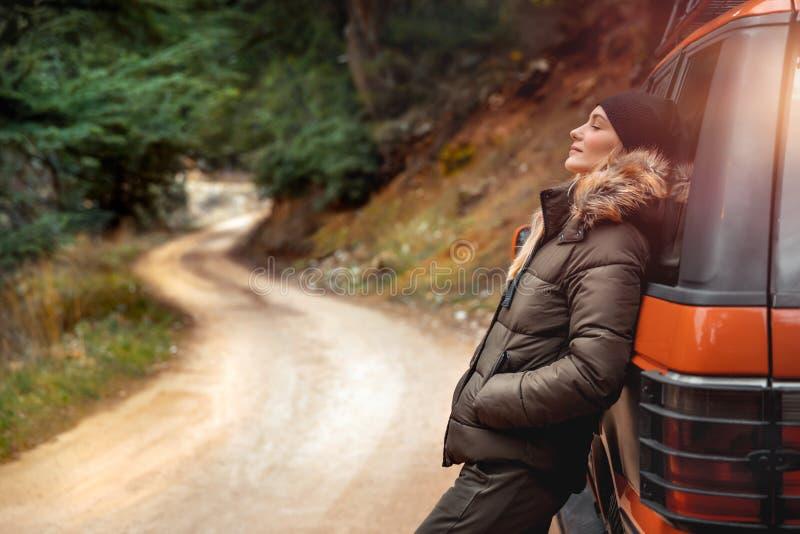 Enjoying mountainous silence stock photo