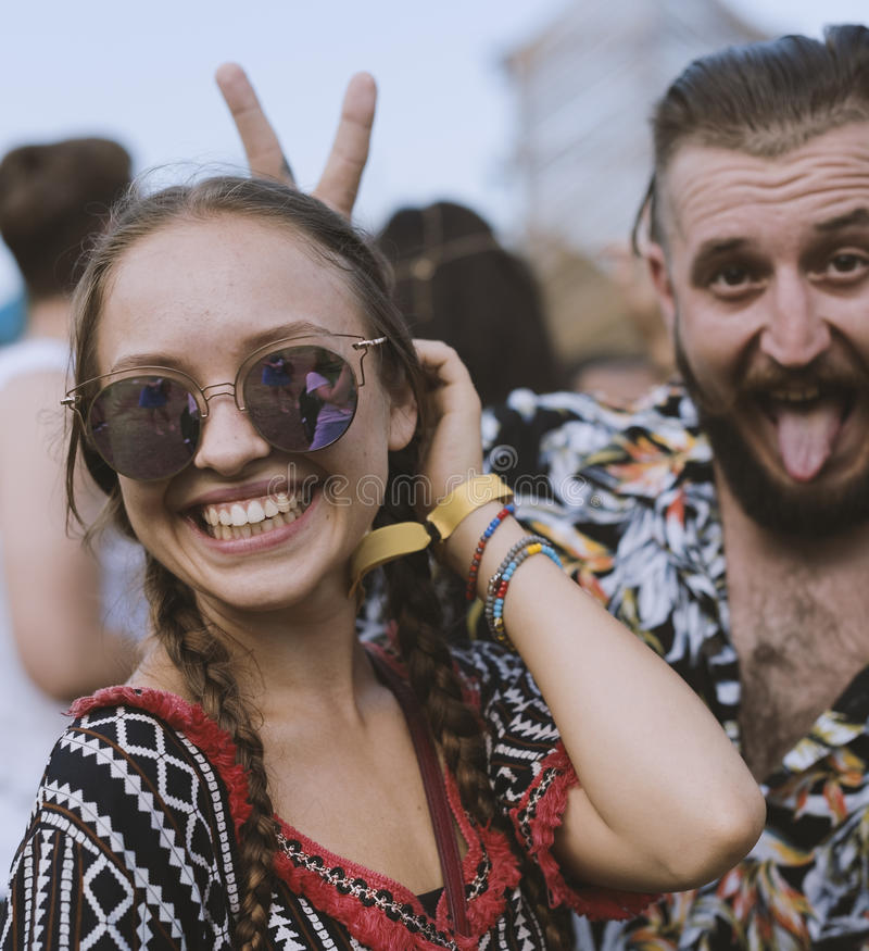 Enjoying Music Concert Festival Together. People Enjoying Music Concert Festival Together stock image