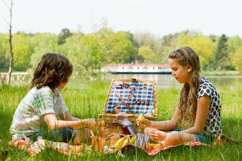 Enjoying our picnic royalty free stock image