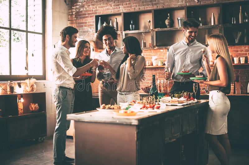 Enjoying party with nearest friends. royalty free stock photography