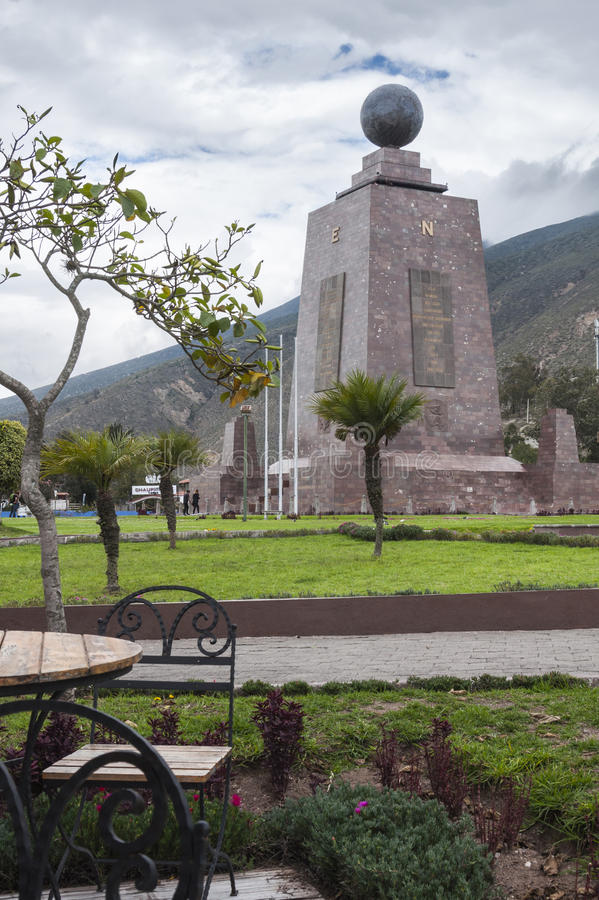 Enjoying in Quito. From a cafe take the monument to the middle of the World stock photography