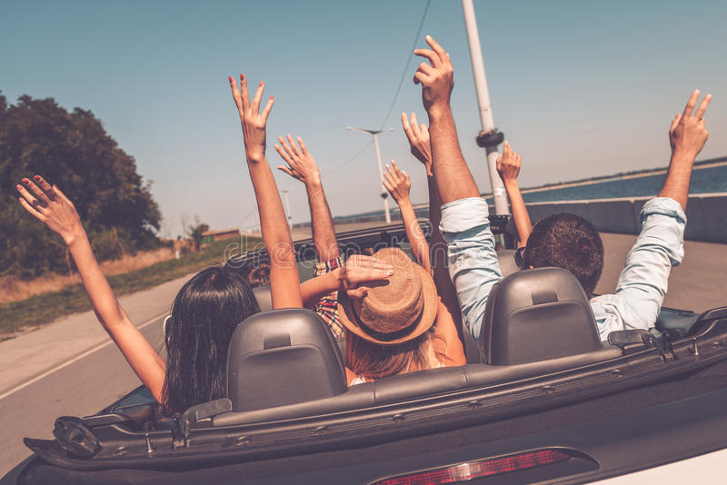 Enjoying road trip. stock photography