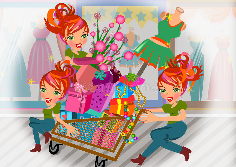 Enjoying Sale. Woman shopping with cart full of things on multiply scene illustration