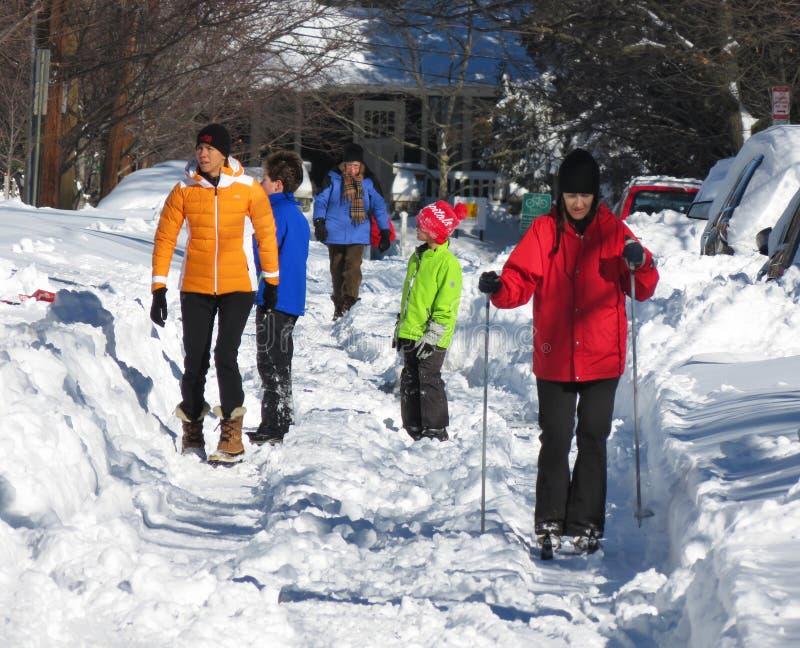 Enjoying the Snow After the Blizzard. Photo of people enjoying the snow after the blizzard in northwest washington dc on 1/24/16. Record snow fell in washington