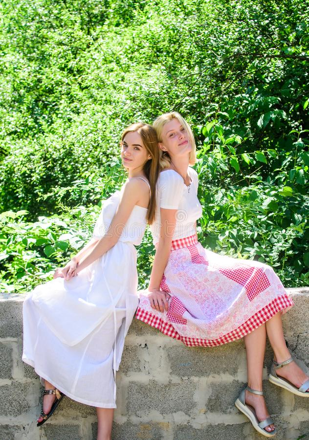 Enjoying summer. freshness of healthy skin. skincare and wellness. spring nature lovers. natural beauty. sexy girls. Relax outdoor. Sisterhood vacation. summer stock photos