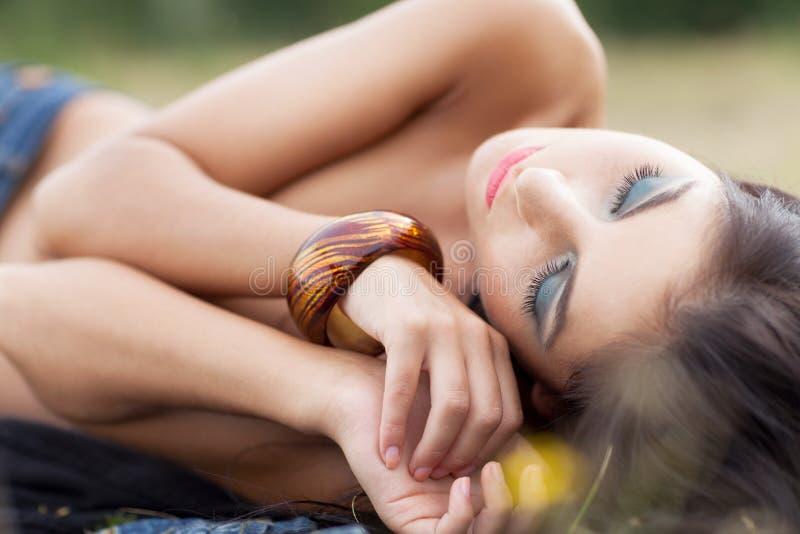 Enjoying summer. Girl enjoying warm summer weather royalty free stock photo