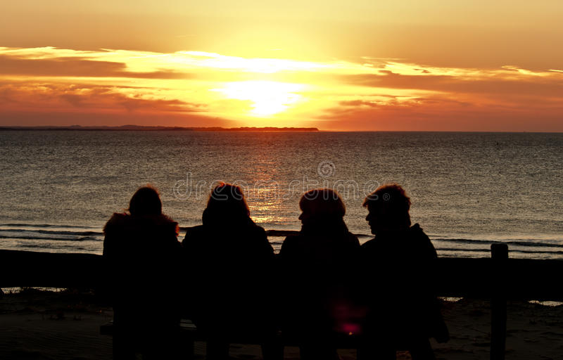 Enjoying sunset at Ameland Island, the Netherlands royalty free stock photos