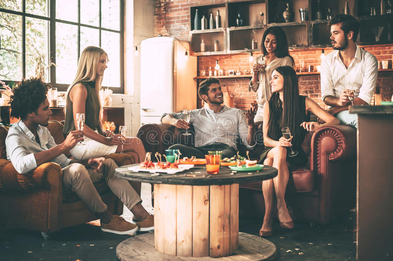 Enjoying time with best friends. royalty free stock photography