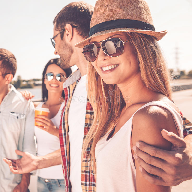 Enjoying time with friends. stock photography