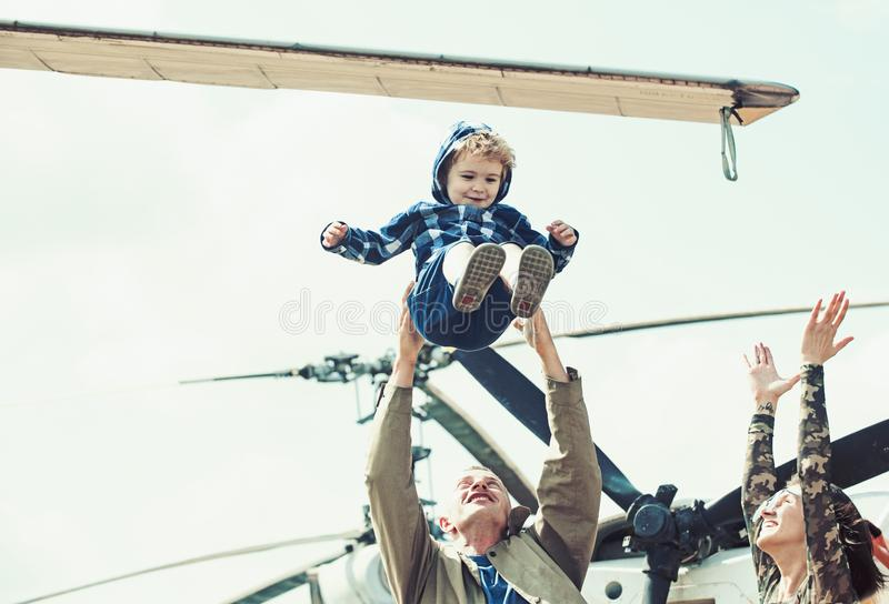 Enjoying travelling fun. Family vacation. Family couple with kid on vacation trip. Mother and father with son at royalty free stock photography