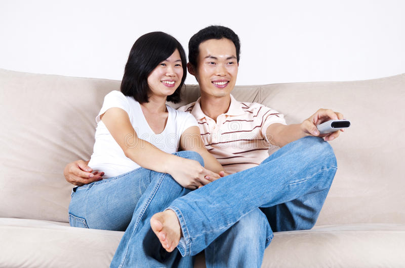 Download Enjoying TV show stock photo. Image of adults, family - 14638480
