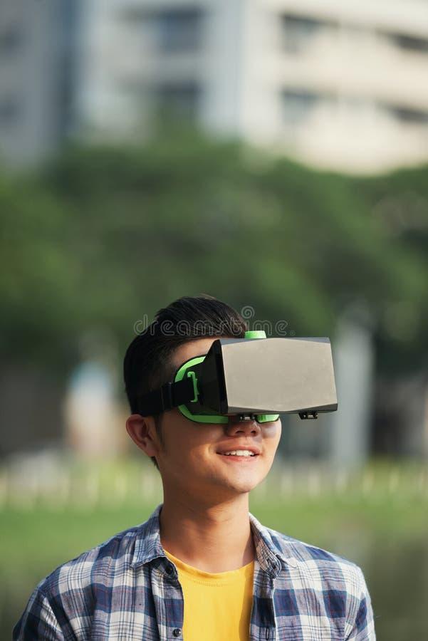 Enjoying virtual reality stock photography