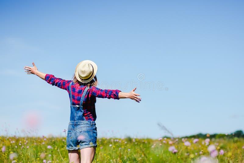 Enjoyment. Free Happy Woman Enjoying Nature. Beauty hipster Girl Outdoor stock photo