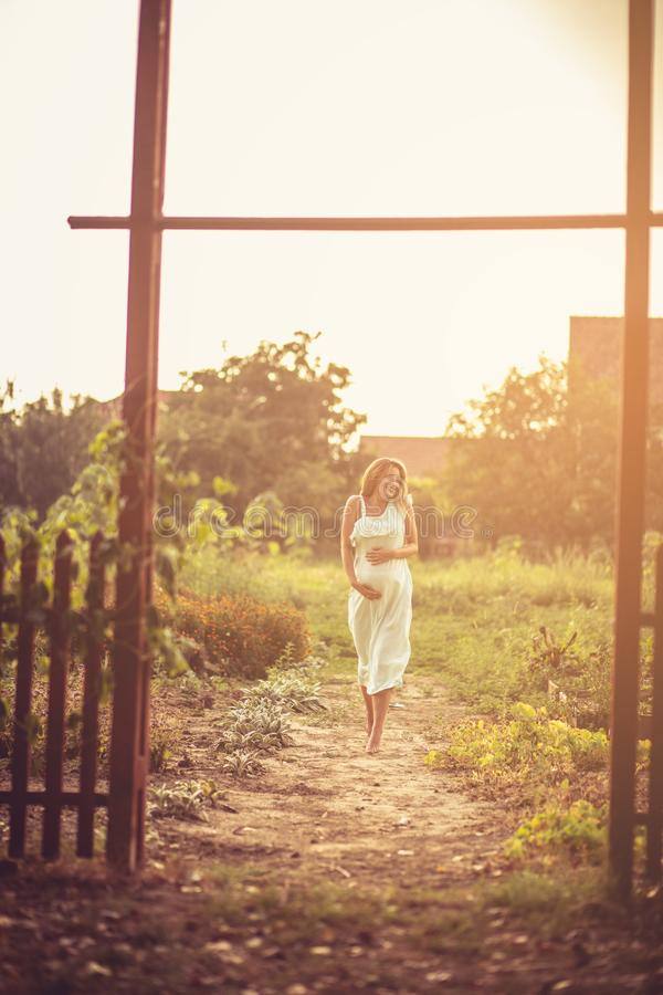 She enjoys this journey to happiness. royalty free stock images