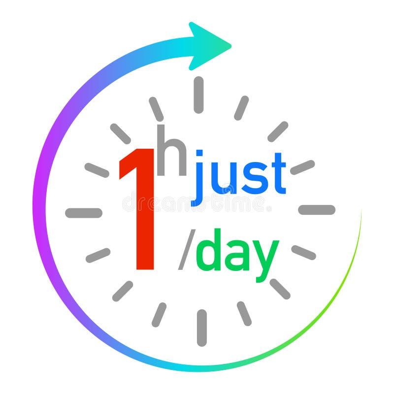 Enkel één uur per dag voor gezondheid vector illustratie