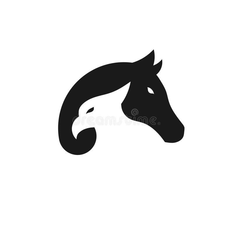 Enkel örn- och hästlogo stock illustrationer