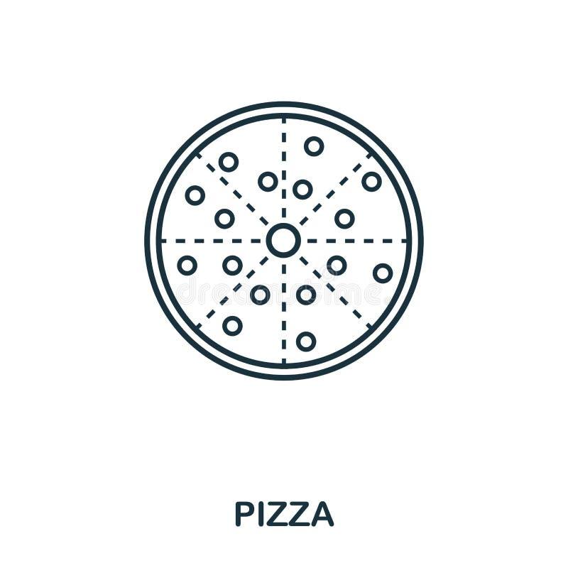 Enkel översiktspizzasymbol Perfekt linjär beståndsdel för PIXEL Stil för pizzasymbolsöversikt för att använda i mobil app, rengör vektor illustrationer