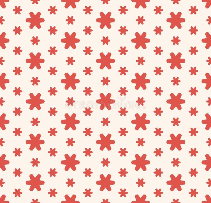 Enkel abstrakt r?d och vit blom- s?ml?s modell Geometrisk textur f?r vektor stock illustrationer
