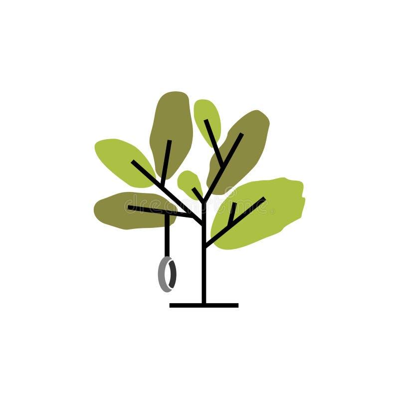 Enkel abstrakt trädvektor med gunga stock illustrationer