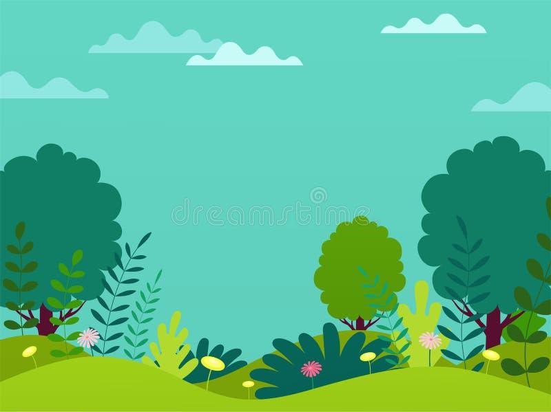 Enkel affisch för vårsommar med blommor, stammar och träd på bakgrunden för blå himmel stock illustrationer