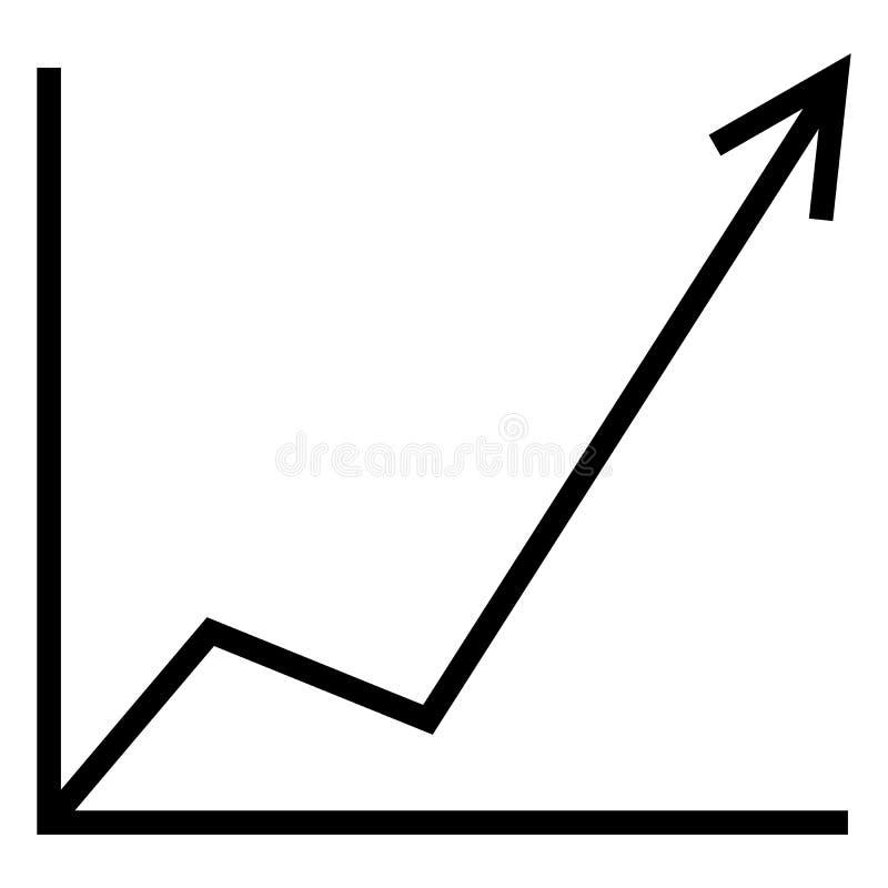 Enkel analytisk symbol för vektor - ökande graf stock illustrationer