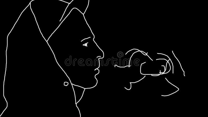 Enkel animering av ståenden av att röka grabben Upprepande rörelse av securewarecigaretter Bild av den vita konturn av stock illustrationer