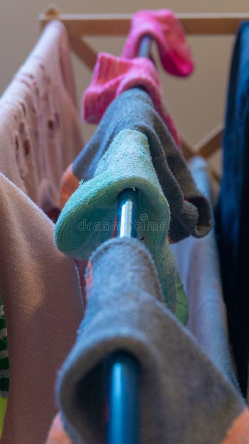 Enkel ankelsocka som matchas dåligt med sockapar som torkar på tvätterikuggen, når tvätt Visa saknade sockor, sockapar, tvätteri royaltyfria foton