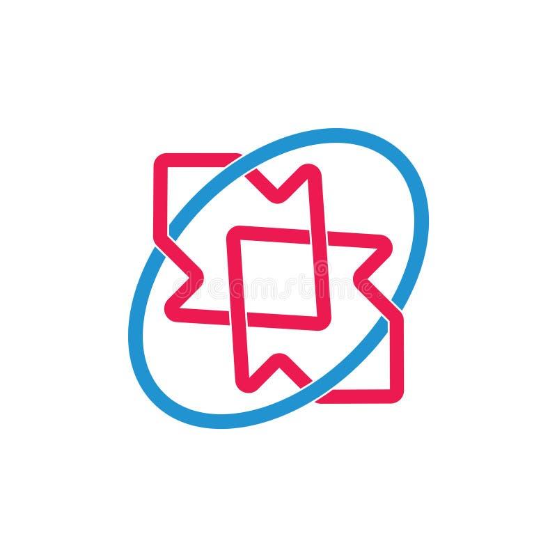 Enkel anknuten vektor för logo för kedjepil färgrik vektor illustrationer