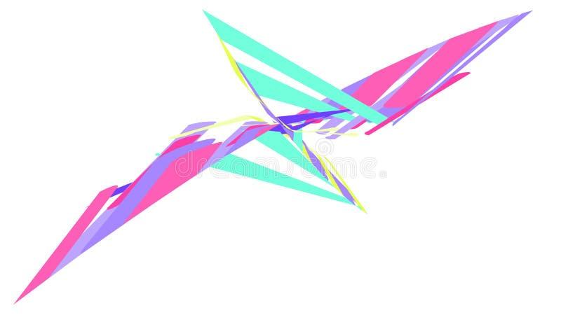 Enkel bakgrund av ett minimalistic abstrakt härligt mångfärgat ljust geometriskt diagram i form av en fjäril, blomma, bi stock illustrationer