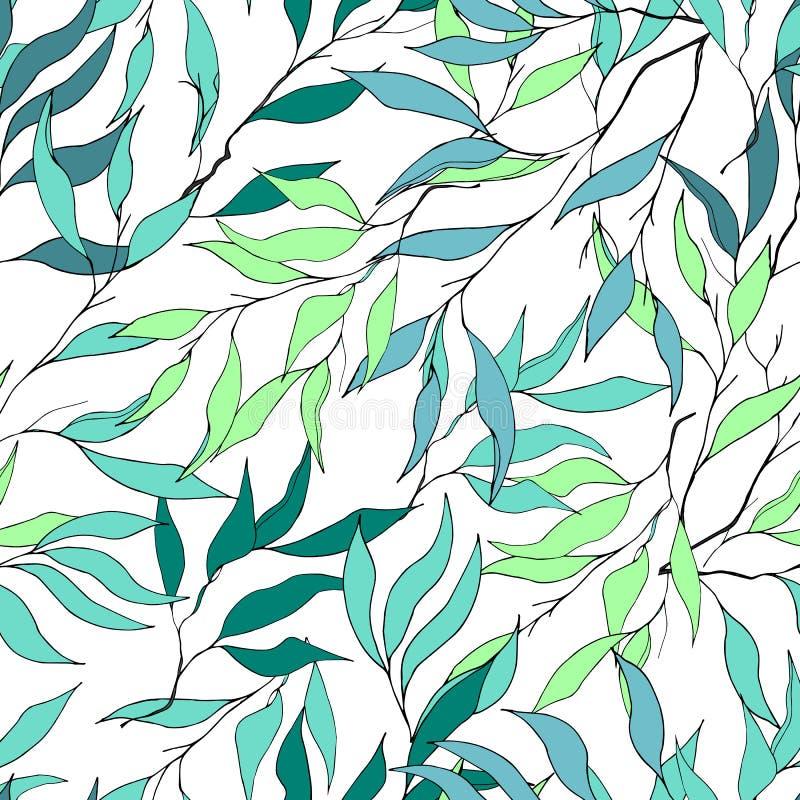 Enkel bakgrund av filialer med gr?na sidor p? vit Utdragen botanisk textur S?ml?s prydnad f?r tyg, tegelplattor och papper royaltyfri illustrationer