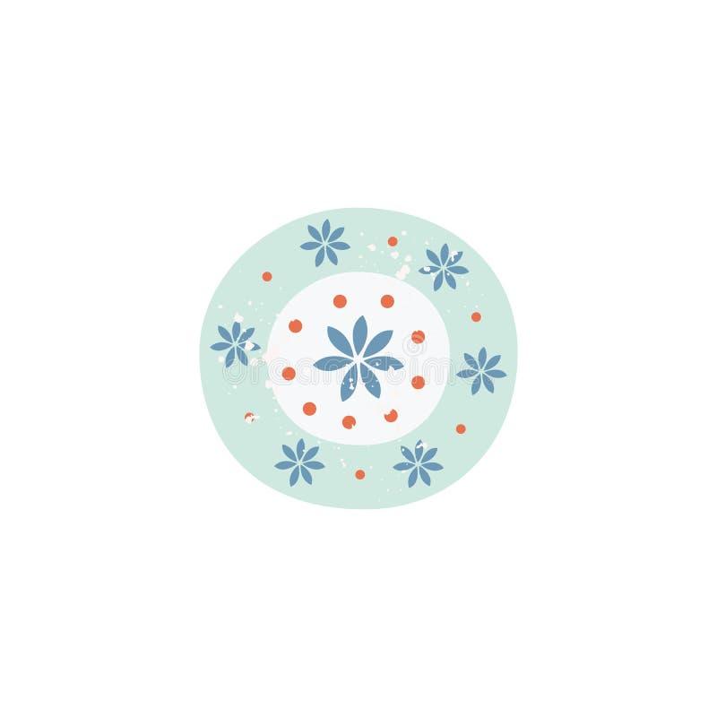Enkel bakgrund f?r blommamodell f?r enkel keramisk platta stock illustrationer