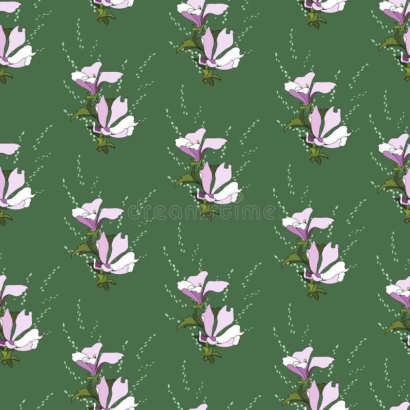 Enkel bakgrund med den blom- modellen Gr?n textur, smyckar f?r att dekorera tyger, tegelplattor och papper och tapeten p? v?ggen stock illustrationer