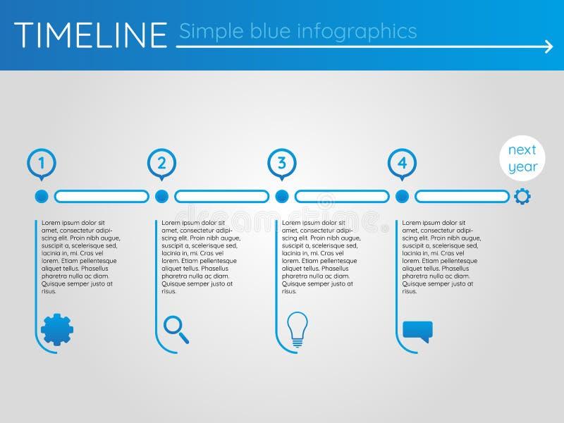 Enkel blå timeline 14, infographicsvektor royaltyfri illustrationer