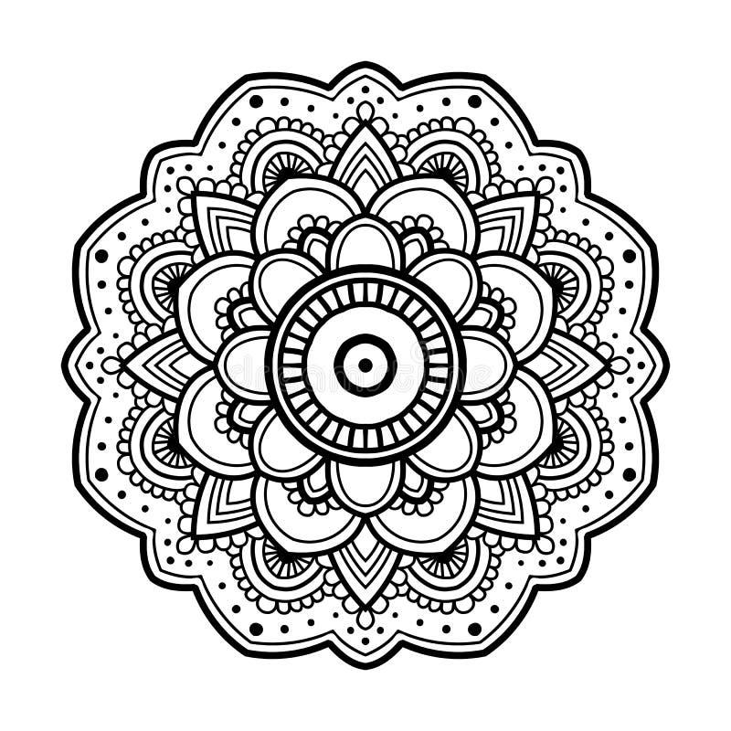 Enkel blom- mandala stock illustrationer