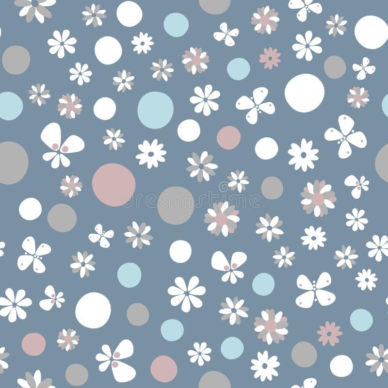 Enkel blom- sömlös modellvektor för pastellfärgad färg royaltyfria bilder