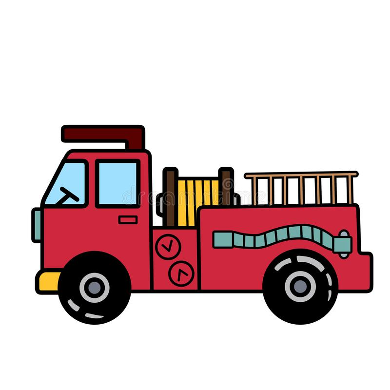 Enkel brandlastbil med stegen på vit bakgrund arkivbild