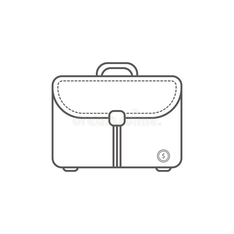Enkel Businessoch finansvektorFlatsymbol Klassisk budbärarepåse som symbol av en affärsman Linje konststilsymbol  royaltyfri illustrationer
